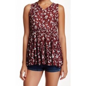 RO + DE Burgundy Floral Printed Bobo Swing Top